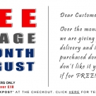 FREE UK postage and returns for the month of August