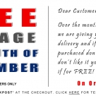 FREE UK postage and returns for the month of September