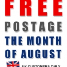 FREE UK postage for the month of August
