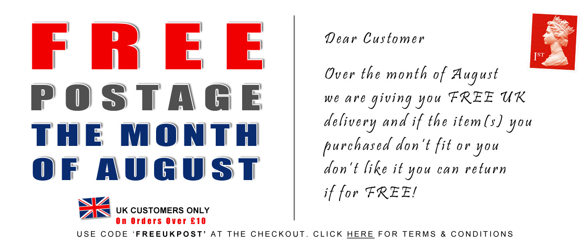 FREE UK postage and returns for the month of August!