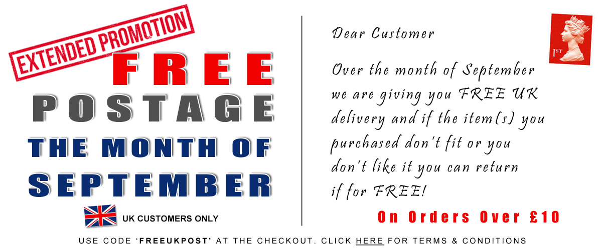 FREE UK postage for the month of September